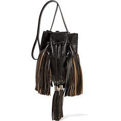 Sara Battaglia - Jasmine Glossed Textured-leather Bucket Bag ($644) ❤ liked on Polyvore featuring bags, handbags, shoulder bags, black, bucket bags, tassel purse, fringe bucket bags, handbag purse and fringe tassel shoulder bag