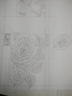 Border Embroidery Designs, Embroidery Art, Quilting Designs, Embroidery Patterns, Rug Hooking Patterns, Textile Patterns, Paisley Stencil, Basic Sketching, Hand Work Design