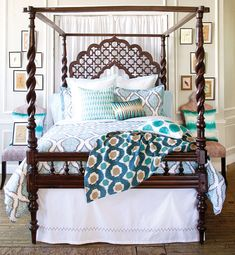 JOHN ROBSHAW TEXTILES: #bohemian-style #bed frame and wood #headboard with carved details