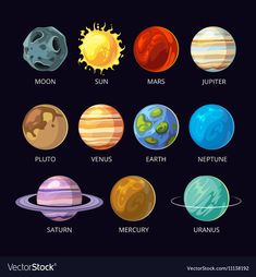 Planets of the solar system vector cartoon placed on dark sky space background. Mars and Pluto, Neptune and Venus, Uranus and Saturn illustration - Planets of the solar system vector cartoon placed on dark sky space background. Mars and Pluto, Nept - Solar System Painting, Solar System Art, Solar System Projects, Solar System Planets, Solar System Tattoo, Solar System Model, Mars Planet, Uranus Planet, Galaxies
