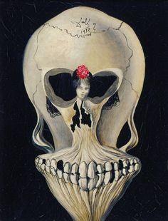 Salvador Dalí (1904-1989).  Bailarina na cabeça de uma Morte,
