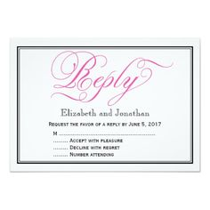 Chic Pink Calligraphy Script Wedding Reply Card