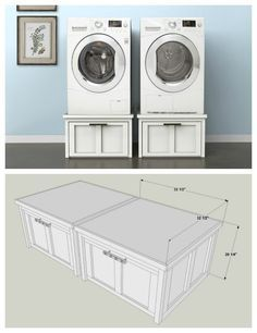 DIY Washer And Dryer Pedestals With Storage Drawers :: Find The FREE PLANS  For This