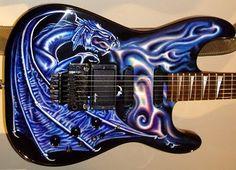 Beautiful guitar   Design Blue Dragon Artwork Airbrush on Electric Guitar Purple Color