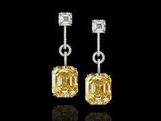 Gems Jewelry, High Jewelry, Stone Jewelry, Jewelry Accessories, Jewelry Design, Emerald Cut Diamond Earrings, Diamond Jewelry, Yellow Jewelry, Pakistani Jewelry