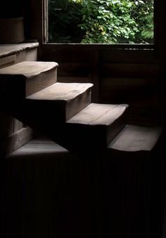 = worn timber stairs