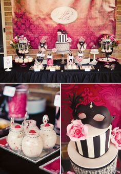 masquerade-chic-birthday-dessert-table It could also be the decor for a mystery party Adult Birthday Party, 30th Birthday Parties, Birthday Woman, Birthday Party Themes, Women Birthday, Themed Parties, Birthday Cakes, 30th Birthday Party Ideas For Women, Birthday Decorations