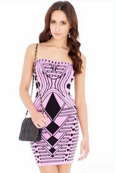 Violet Geometric Pattern Bodycon Bandage Dress 7f07a3ffe3c8