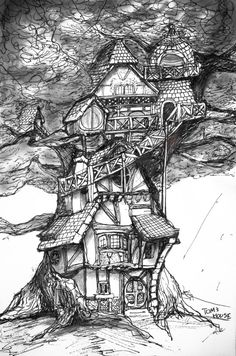 Fairy Tree House observatory inspiration New Prints Up! House Colouring Pages, Adult Coloring Pages, Doodle Art, Art Lessons, Painting & Drawing, Line Art, Concept Art, Art Drawings, Illustration Art