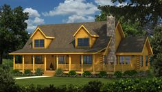 Lake City Front Elevation - Southland Log Homes