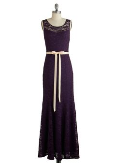A Real Romantic Dress. To ensure a special day is oh-so special, this elegant aubergine maxi dress is your first choice. #purple #prom #wedding #bridesmaid #modcloth
