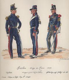 Siege Of Rome 1849, French Artillery, L to R Captain. Sergeant a Pied5th Regt & Marechal de Logis Chef 7th Regt by H.Boisselier