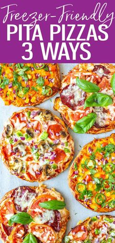 Here's how to make Pita Pizza 3 Ways (veggie, margherita and Tex Mex) - they're so great for meal prep and make fantastic freezer meals. #pitapizza #freezermeal Fun Pizza Recipes, Supper Recipes, Lunch Recipes, Breakfast Recipes, Easy Recipes, Easy Weeknight Meals, Quick Easy Meals, Main Dish Salads, Main Dishes
