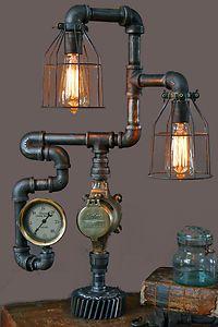 Steampunk Shade Steam Gauge Gear Lamp Light Industrial Art Machine Age Salvage