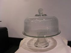 Vintage Glass Ribbed Covered Cake Plate/Punch Bowl Cake Stand With Dome, Cake Stands, Cake Cover, Cake Plates, Punch, Glass, Vintage, Drinkware, Corning Glass