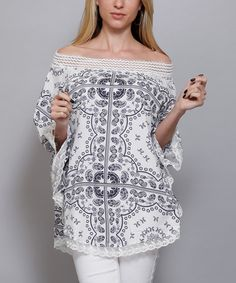 Another great find on #zulily! White Geometric Off-Shoulder Tunic #zulilyfinds