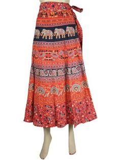 Bohemian Wrap Around Skirt Red Orange Vintage Cotton Wrap Skirt, Gypsy Skirts Mogul Interior,http://www.amazon.com/dp/B00CGVIAEE/ref=cm_sw_r_pi_dp_7UFDrbDAF2D944BE