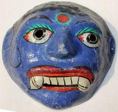 Vintage Paper Mache Mask Blue Color Devil of Fangs Teeth Hand Painted GO239 | eBay