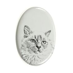 Birman, oval gravestone from ceramic tile with an image of a cat -- See this great product. (This is an affiliate link and I receive a commission for the sales) Kitty Images, Cat Memorial, Cat Face, Ceramic Plates, Pet Accessories, Diy, House, Ceramics, Pure Products