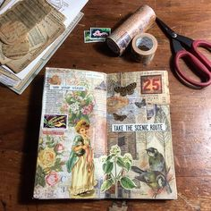 Week 15/52 Background on this one is a combo of Tim Holtz paper scraps and torn pieces of washi tape . Loving using the pretty flowers I scanned from that old botanical book, too!! . . . #weeklycollage #vintagecollage #collage #collageart #collagejournal #illustratedjournal #vintage #vintageephemera #midoritravelersnotebook #travelersnotebook #cutandpaste #paperlover #artjournalpage #postagestamps #botanicalillustration