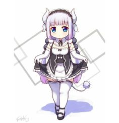 Kanna in a maid outfit! Chibi Anime, Kawaii Chibi, Kawaii Art, Kawaii Anime, Kanna Kamui, Kobayashi San Chi No Maid Dragon, Miss Kobayashi's Dragon Maid, Maid Outfit, Cute Dragons