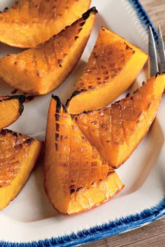 Candied Roasted Squash - Fall Harvest Butternut Squash Recipes - Southernliving. Recipe:Candied Roasted Squash  A recipe with only three ingredients calls for smart technique and a little bit of finesse. Score the squash flesh to create more surface area for caramelizing.