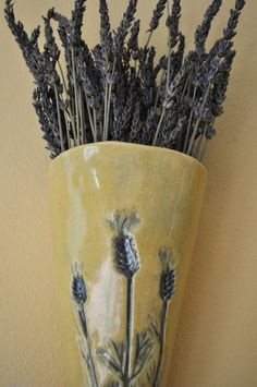 Matte Lavender Wall Vase by DolcezzaMia on Etsy, $28.00