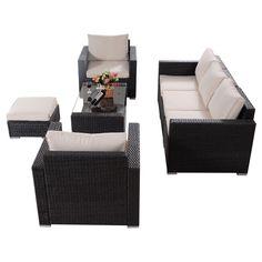 7 pc Outdoor Rattan Cushioned Sofa Chair Ottoman Table Pool Patio Furniture Set   eBay