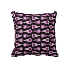 Purple Black Crazy Triangle Pattern Throw Pillow