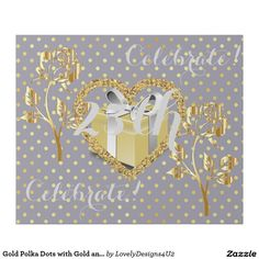 Gold Polka Dots with Gold and Silver Decorations Wrapping Paper Silver Decorations, Gold Polka Dots, Wrapping, Wraps, Parties, Entertaining, Paper, Coats, Fiestas