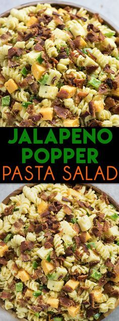 Jalapeno Popper Pasta Salad – This cold pasta salad recipe tastes just like a jalapeno popper! Easy to put together for all of your Summer parties and to take along camping! Pasta smothered in creamy jalapeno ranch dressing with bacon, cheese cubes, and croutons! A great side dish to feed a crowd for Memorial Day or Fourth of July!
