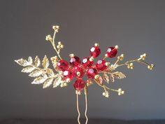 Bridal hair pins Red Swarovski hair pins Gold hairpins by ZTetyana