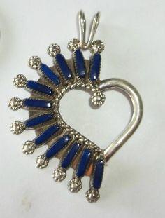 Native American Zuni Sterling Silver Lapis Petit Point Heart Pendant Gorgeous #Zuni