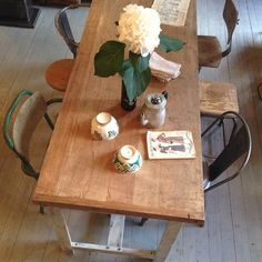 Big and solid work and dinner table. Originaly a french industrial worktable. Seats 8 persons! 5 cm thick solid, waxed woodtop, metal legs. 200x75x85h kr 6000  #industrialfurniture #industrimøbler #frenchvintage #frenchvintageinterior #interiør, Oslo