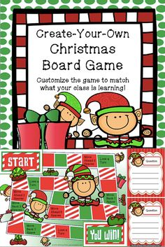Need a template to create your own Christmas-themed board game? This set has a fun game board and blank game cards ready to be customized.