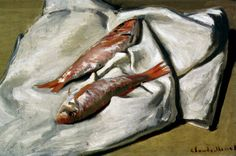 Still Life: Red Mullets Artwork By Claude Oscar Monet Oil Painting & Art Prints On Canvas For Sale Claude Monet, Monet Paintings, Impressionist Paintings, Fish Paintings, Fish Artwork, Pierre Auguste Renoir, Charles Gleyre, Food Painting, Basic Painting
