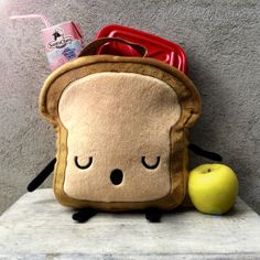 Litttle Bread slice LUNCHBOX, fabric lunch bag for boys, waterproof lunch bag, cute lunch box, c Cute Lunch Boxes, Boite A Lunch, Bread Bags, Tote Bags, Gifts For Kids, Cool Stuff, Stuff To Buy, Sewing Projects, Geek Stuff