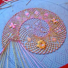 Bobbin lace being done in colored threads. Bobbin Lacemaking, Lace Art, Bobbin Lace Patterns, Art Du Fil, Point Lace, Tatting Lace, Needle Lace, Lace Making, Antique Lace