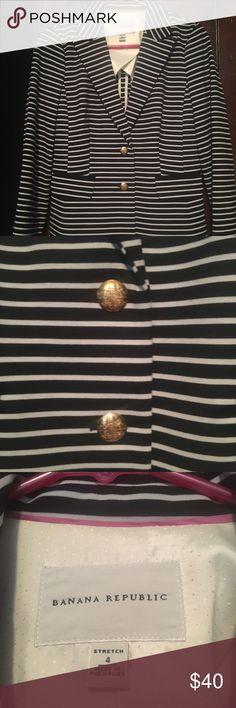 Banana Republic Navy White Striped Blazer Size 4! Banana Republic Navy White Striped Blazer Size 4! Excellent condition!! Banana Republic Jackets & Coats Blazers