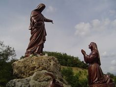 Statue of Our Lady at Laus appearing to Bl. Benoîte Rencurel at the site of the apparition (recently approved by Bebedict XVI). More about this here … http://corjesusacratissimum.org/2013/10/the-apparitions-of-our-lady-of-laus-to-bl-benoite-rencurel/