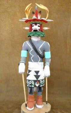 "Native American Hopi Carved 16"" Deer Kachina Katsina Doll Nolan Nasafotie | eBay"