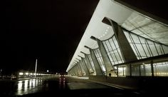 The iconic facade of Dulles International Airport outside of Washington, D.C. was originally designed by Eero Saarinen. It's been copied so many times all over the world.