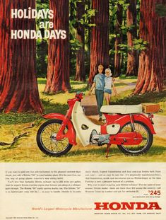 theswinginsixties:    'Holidays are Honda Days'… 1963 Honda motorcycle advertisement.