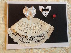 Doily bride and tuxedo groom with red by CreativeWeddingInvit, $5.00