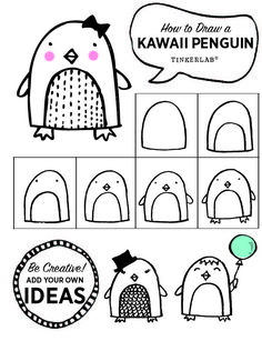 How to draw a Kawaii Penguin in six easy steps. Free printable!