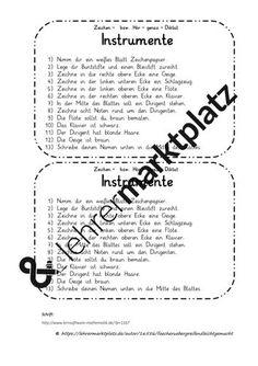 Instrumente - Zeichendiktat – Unterrichtsmaterial in den Fächern DaZ/DaF & Deutsch & Kunst Word Search, Personalized Items, Words, Author, Sentence Building, Play Based Learning, Percussion, Grammar, Sheet Music