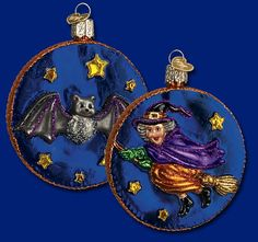 """By the Light of the Moon, 3½"""" Old World Christmas Halloween glass ornaments"""