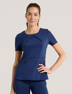 The Envelope Pleat Top in Estate Navy Blue is a contemporary addition to women's medical scrub outfits. Shop Jaanuu for scrubs, lab coats and other medical apparel. Scrubs Outfit, Scrubs Uniform, Work Fashion, Fashion Outfits, Womens Fashion, Tan Bikini, Medical Scrubs, Nurse Scrubs, Lab Coats