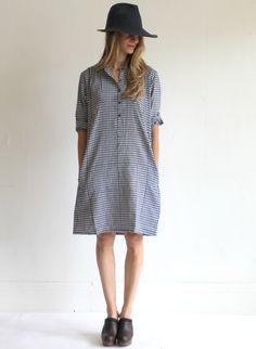 The Podolls Market Dress - Navy & White Gingham Khadi Check