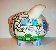 Hand Painted  Large Ceramic Piggy Bank  by SharonsCustomArtwork
